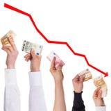Pojęcie euro zostać coraz więcej tanim Zdjęcia Stock
