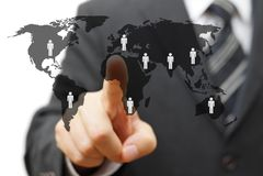 Pojęcie globalny rynek z partnerami dookoła świata Fotografia Stock