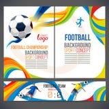Pojęcie gracz piłki nożnej z barwionymi geometrycznymi kształtami gromadzić w postać futbolu royalty ilustracja