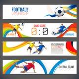 Pojęcie gracz piłki nożnej z barwionymi geometrycznymi kształtami gromadzić w postać futbolu ilustracji