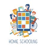 Pojęcie homeschooling Emblemat uczy kogoś dla dużych rodzin dom również zwrócić corel ilustracji wektora royalty ilustracja