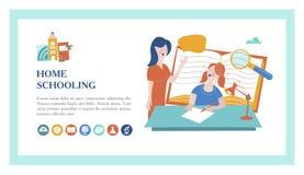 Pojęcie homeschooling również zwrócić corel ilustracji wektora Emblemat uczy kogoś dla dużych rodzin dom ilustracji