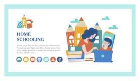 Pojęcie homeschooling również zwrócić corel ilustracji wektora Emblemat uczy kogoś dla dużych rodzin dom royalty ilustracja