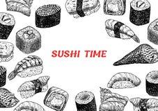 Pojęcie ilustracja przekąska, suszi, egzotyczny odżywianie, denny jedzenie Fotografia Stock