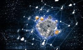 Pojęcie internet i networking z cyfrową sześcian postacią na d Obraz Royalty Free