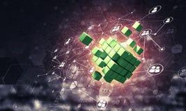 Pojęcie internet i networking z cyfrową sześcian postacią na d Obrazy Stock