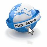 Pojęcie internet wyszukiwarka. Ziemia i kursor Obrazy Royalty Free