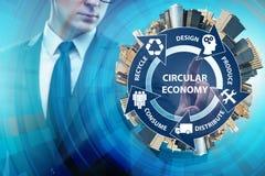 Pojęcie kółkowa gospodarka z biznesmenem ilustracja wektor