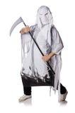 pojęcie kalendarzowej daty Halloween gospodarstwa ponury miniatury szczęśliwa reaper, stanowisko kosy Obraz Royalty Free