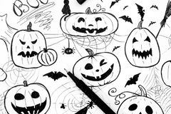 pojęcie kalendarzowej daty Halloween gospodarstwa ponury miniatury szczęśliwa reaper, stanowisko kosy Markier ręki rysunek z czar Zdjęcia Stock
