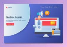 Pojęcie kampania reklamowa, cyfrowy marketing, online biznesowa promocja, wektorowy sieć sztandaru szablon z ikonami i tekst, royalty ilustracja