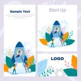 Pojęcie korporacyjnej stylowej ulotki pomyślny rozpoczęcie, biznesowy projekt, praca zespołowa, teambuilder, sieć sztandar, preze royalty ilustracja