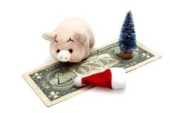 Pojęcie koszt świętować nowego roku świnia lub co świętować NY w Ameryka kosztuje ono Zabawkarski różowy prosiaczek obraz royalty free