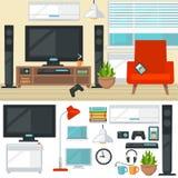 Pojęcie kreatywnie żywy pokój z krzesłem i tv nowożytny ilustracji
