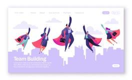 Pojęcie lądowanie strona na praca zespołowa temacie Wektorowa ilustracja dla mobilnego strona internetowa rozwoju i strona intern ilustracja wektor