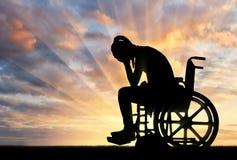 Pojęcie ludzie doświadcza żal dla straty zdrowie z kalectwami zdjęcie stock