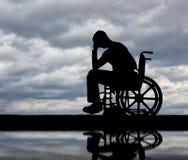 Pojęcie ludzie doświadcza żal dla straty zdrowie z kalectwami obraz stock
