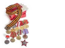 Pojęcie Maj 9, zwycięstwo USSR w Drugi wojnie światowa - rozkaz rewolucjonistki gwiazda, medale dla wyzwolenia Berlin, Warszawa,  Zdjęcie Stock