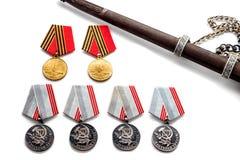 Pojęcie Maja 9 StGeorges medalu nagrody Tasiemkowego ostrza stare fotografie 40 zwalczają się już dni chwały wieczne faszyzm kwia Zdjęcia Stock