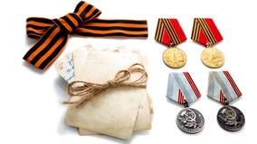 Pojęcie Maja 9 StGeorges medalu nagrody Tasiemkowego ostrza stare fotografie 40 zwalczają się już dni chwały wieczne faszyzm kwia Zdjęcie Stock