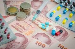 Pojęcie medycyna i pieniądze zdjęcia royalty free