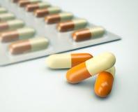Pojęcie medycyna, kapsuły Fotografia Stock