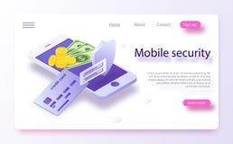 Pojęcie mobilne zapłaty, osobista dane ochrona Online płatniczy systemu ochrony pojęcie z smartphone i kredytową kartą royalty ilustracja