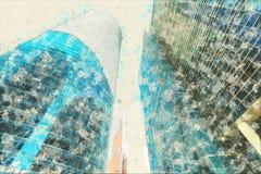 Pojęcie, nakreślenie drapacza chmur fasadowych budynków biurowych nowożytny szkło Obrazy Royalty Free