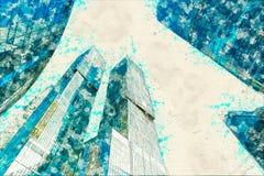 Pojęcie, nakreślenie drapacza chmur fasadowych budynków biurowych nowożytny szkło Zdjęcia Royalty Free