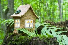 Pojęcie natura, zielony lasowy glina dom na drewnianym fiszorku z liśćmi Obrazy Royalty Free