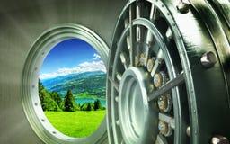 Pojęcie natury konserwaci Duży bezpieczny drzwi z miast ingots Cześć Zdjęcie Stock