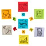 Pojęcie nowożytne internet technologie. Barwioni papierów prześcieradła. Zdjęcie Royalty Free