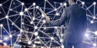 Pojęcie nowożytny biznesowy networking który łączy i współpracuje Fotografia Stock