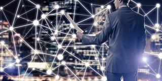 Pojęcie nowożytny biznesowy networking który łączy i współpracuje Obraz Royalty Free