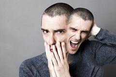 Pojęcie obłąkanie, schizofrenia, szalenie dwubiegunowy zachowanie i niepokój, Fotografia Stock