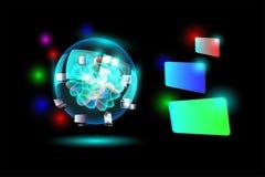 Pojęcie Obłoczna oblicza sieć z kolorowym etykietka sztandarem Zdjęcie Royalty Free
