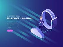 Pojęcie obłoczny serwerów dane exchenge, chmur usługa, mądrze zegarek z biznesmenem, globalna sieć, interneta dane royalty ilustracja