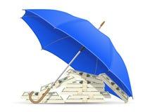 Pojęcie ochraniający i ubezpieczący dolary parasolowi Zdjęcia Royalty Free
