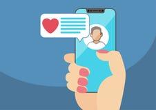 Pojęcie online datowanie app i mobilna gadka Żeńska ręka trzyma nowożytną Obrazy Stock