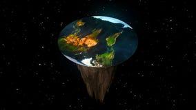 Pojęcie płaska planety ziemia świadczenia 3 d royalty ilustracja