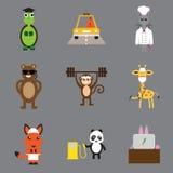 Pojęcie płaskie ikony na szarych tło zwierzętach Zdjęcie Royalty Free