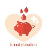Pojęcie płaskie medyczne ikony prosiątko bank jako krwionośna darowizna Obrazy Royalty Free