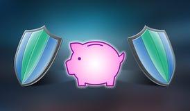 Pojęcie pieniądze ochrona ilustracji