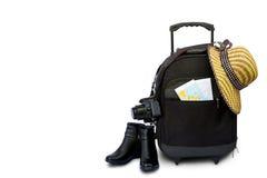 Pojęcie podróżować z walizką, kapeluszem i butem, Zdjęcia Stock