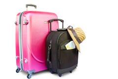 Pojęcie podróżować z walizką, kapeluszem i butem, Zdjęcie Stock