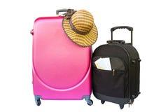 Pojęcie podróżować z walizką, kapeluszem i butem, Zdjęcia Royalty Free