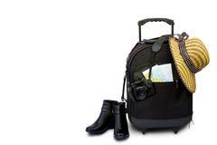 Pojęcie podróżować z walizką, kapeluszem i butem, Zdjęcie Royalty Free
