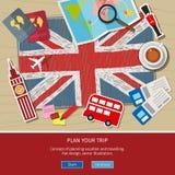 Pojęcie podróży lub studiowania angielszczyzny Zdjęcia Royalty Free