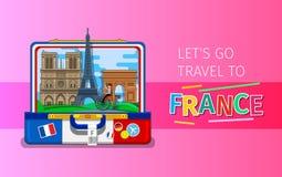 Pojęcie podróży lub studiowania francuz ilustracji