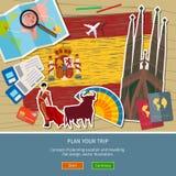 Pojęcie podróży lub studiowania hiszpańszczyzny Obrazy Stock